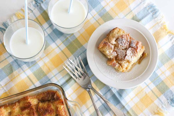baked french toast with pear and vanilla