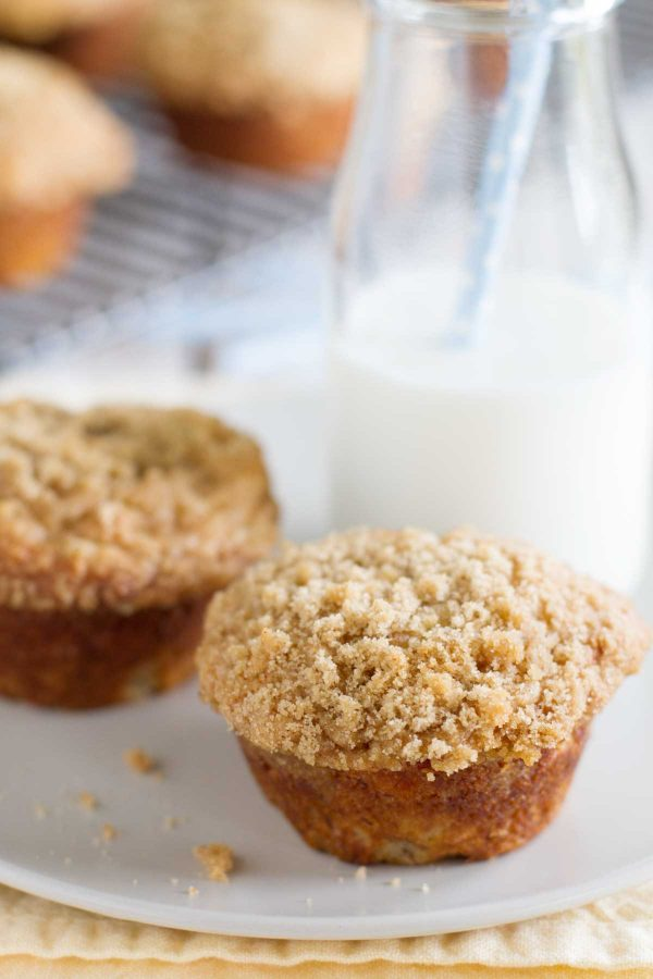 Banana Crumb Muffins on a plate