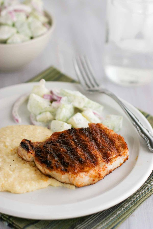 Barbecue pork chops over cheddar grits