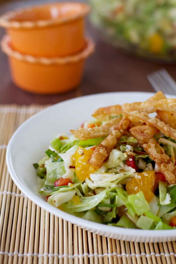 Chinese Chopped Salad with Wontons and Oranges