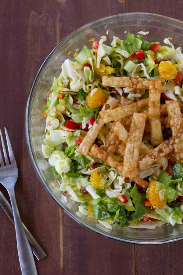 Salad with Fried Wonton Wrappers