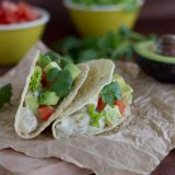 chicken tacos with cilantro and chiles