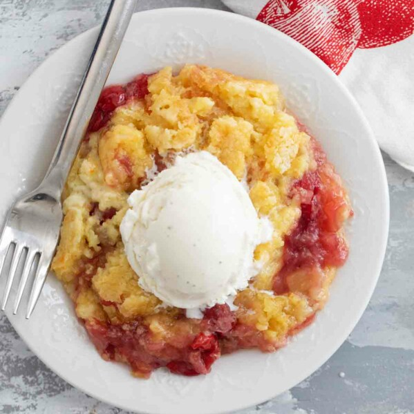 Pineapple and Cherry Dump Cake serving