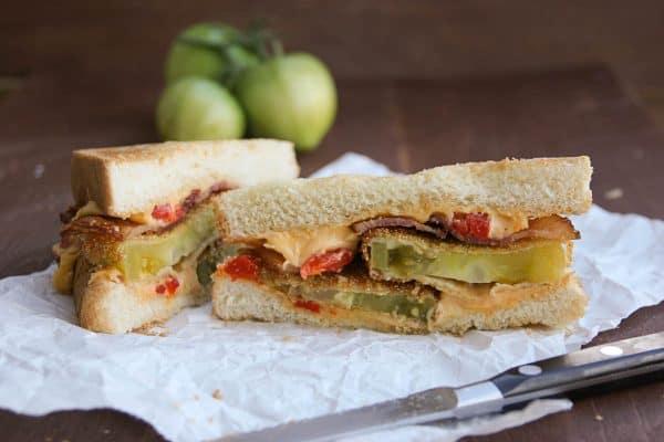 Inside of Fried Green Tomato Sandwich