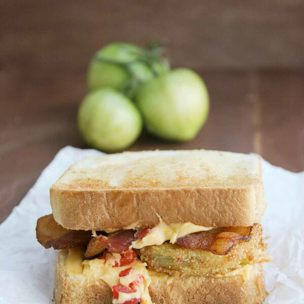 Fried Green Tomato Sandwich on Toast with Bacon
