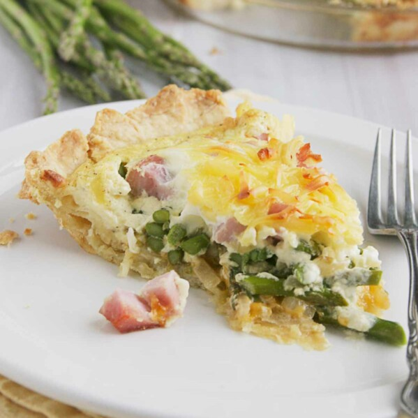 Slice of Ham and Asparagus Quiche