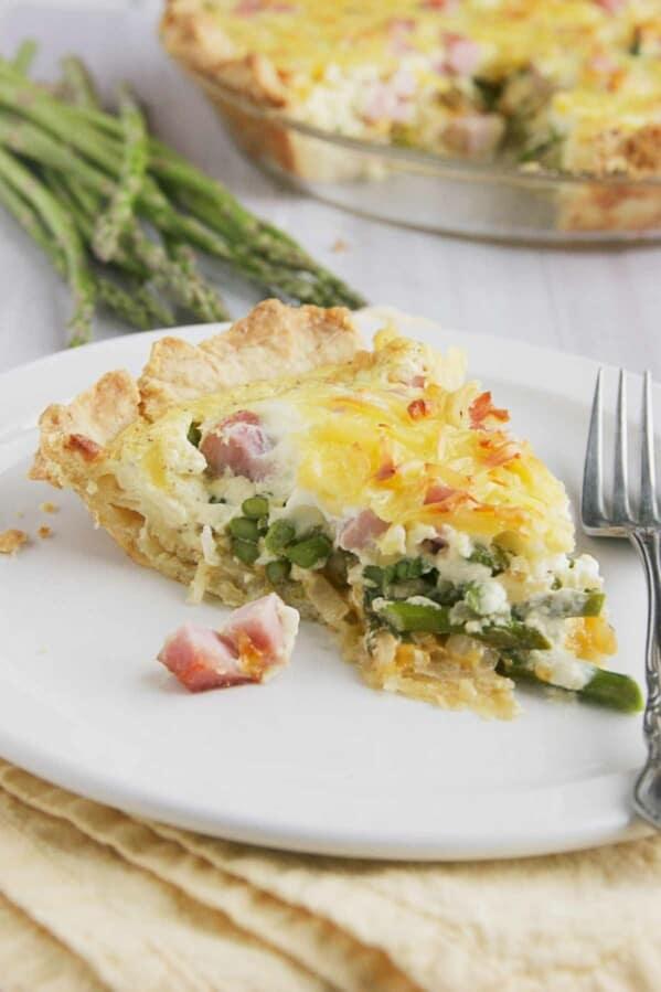 Slice of Ham and Asparagus Quiche