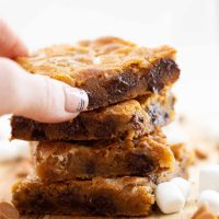 Butterscotch Blondies with marshmallows and chocolate chips
