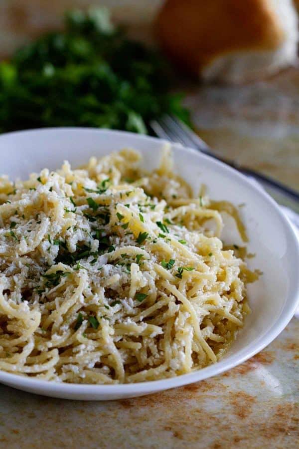 bowl of Mizithra Cheese Pasta