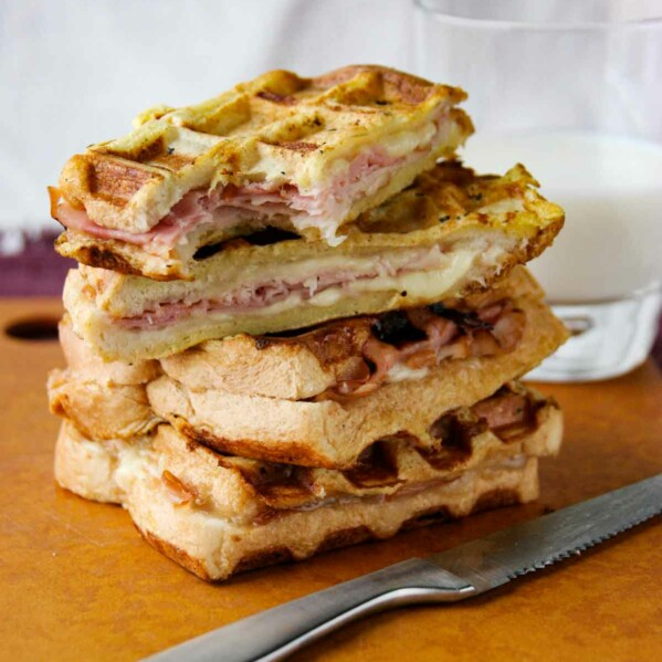 stack of Monte Cristo Waffle Sandwiches