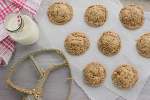 baked oatmeal toffee cookies on paper