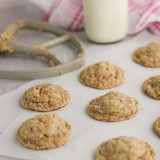 Baked cookies with oatmeal and toffee