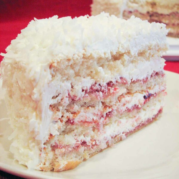 Perfect Party Cake with Raspberry and Coconut