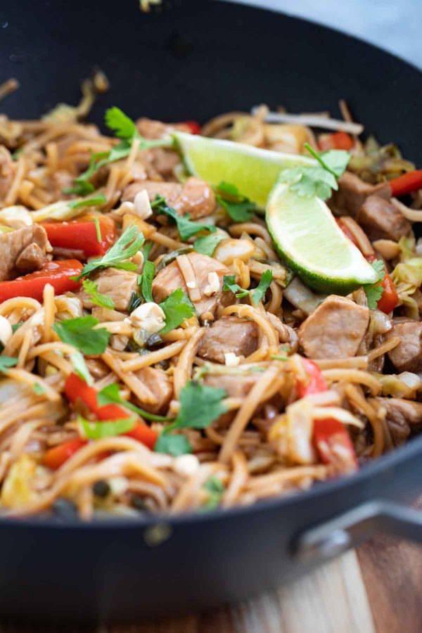 pork stir fry with noodles and peppers