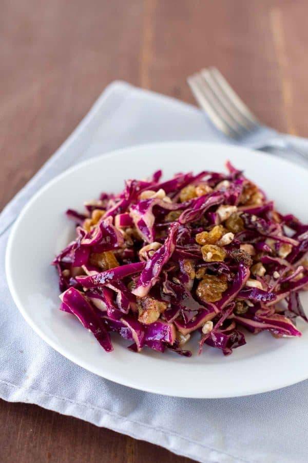 Red Cabbage Salad with golden raisins