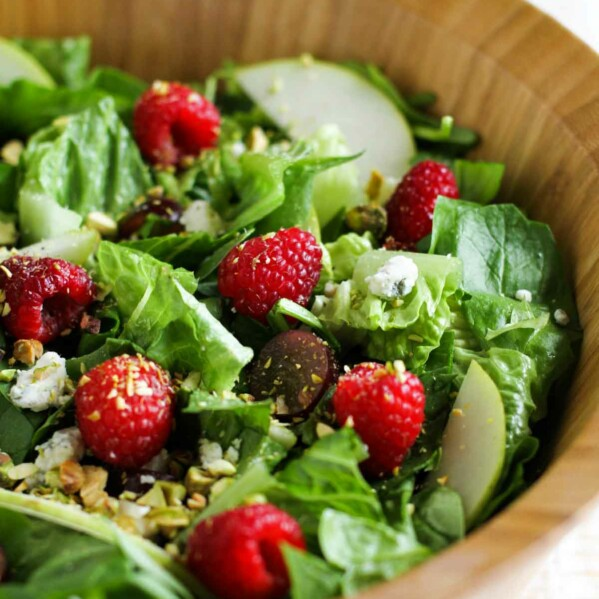 Red Raspberry Spinach Salad with Raspberry Vinaigrette