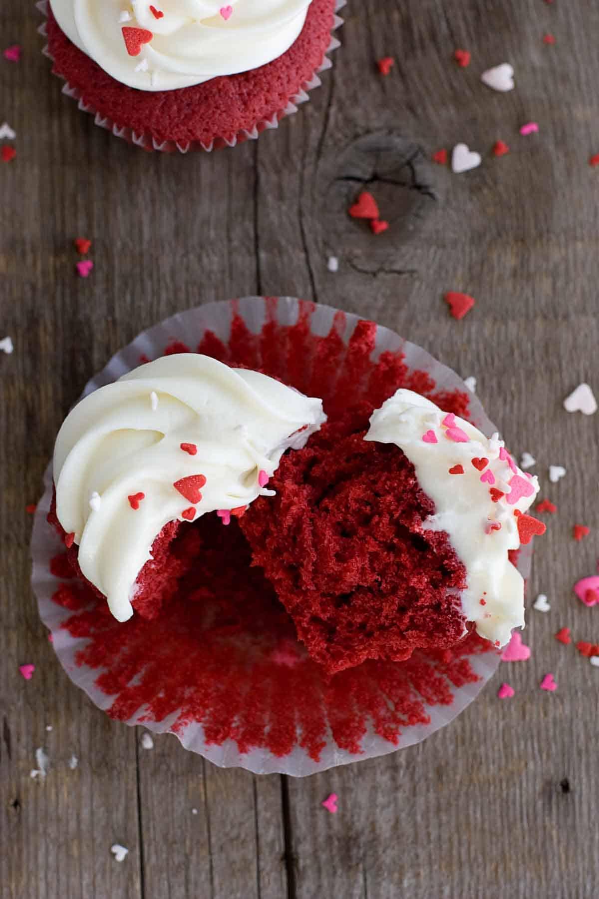 Texture of Red Velvet Cupcakes