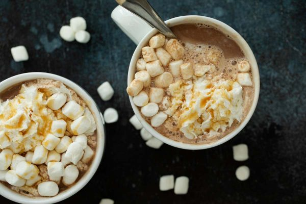 Mugs of Salted Caramel Hot Chocolate