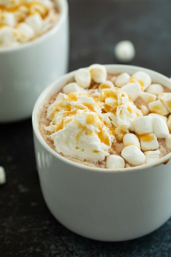 Hot Chocolate topped with Whipped Cream and Caramel
