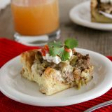 Piece of Sausage, Mushroom and Green Chile Casserole