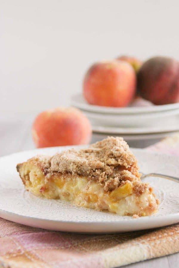 Slice of Sour Cream Peach Pie