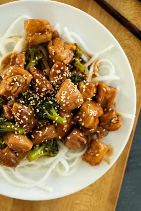 Sesame Chicken with Broccoli over noodles