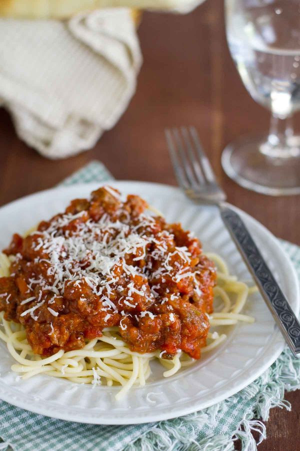The Best Spaghetti Sauce over noodles on a plate