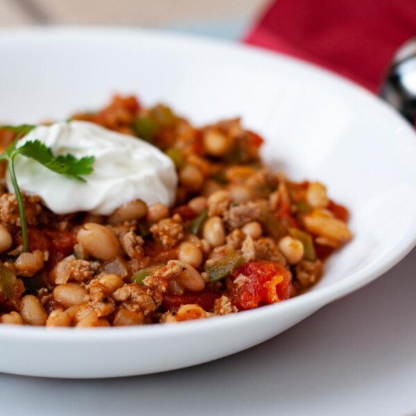 Bowl of Turkey and Bean Chili