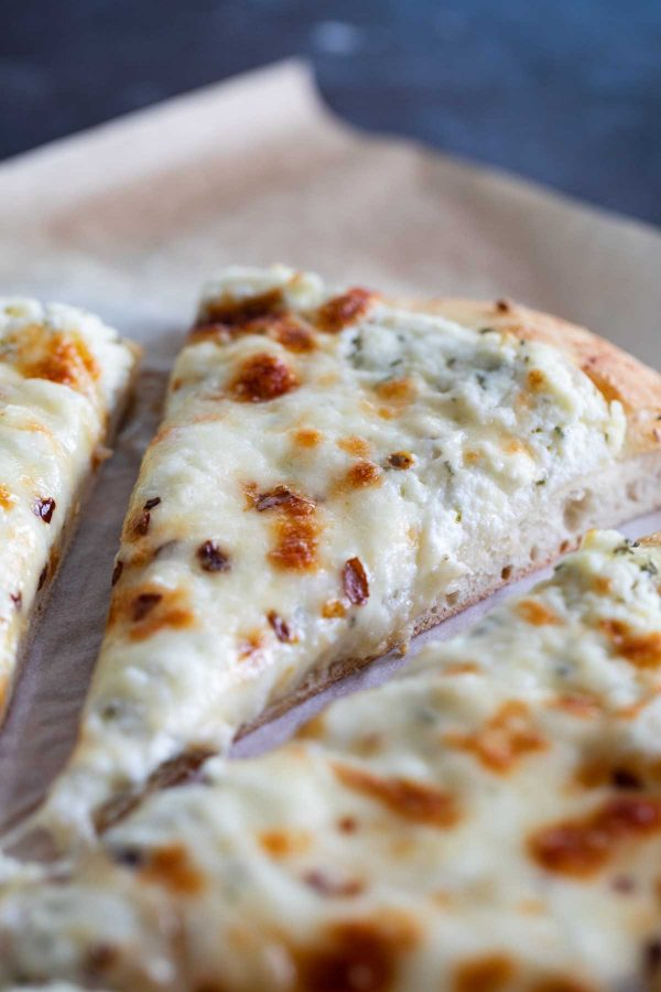 close up of white pizza