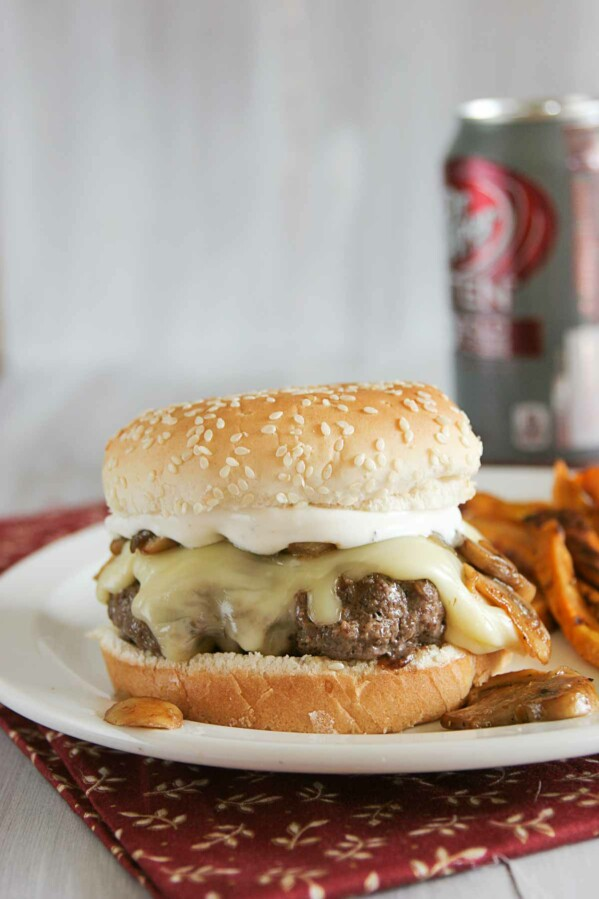 Worcestershire Burgers with sweet potato fries