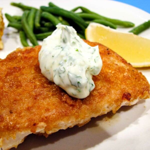 Cornflake Crusted Halibut with Chile Cilantro Aioli
