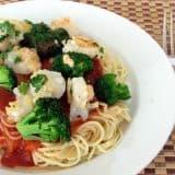 Crispy Parmesan Shrimp with Spaghetti