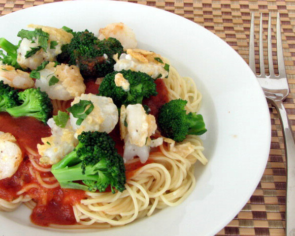 Crispy Parmesan Shrimp with Spaghetti