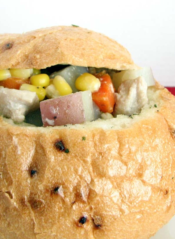 Dutch Oven Chicken Stew in a Bread Bowl