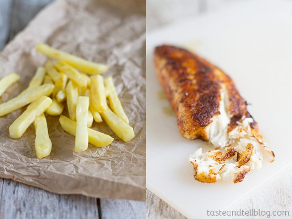 french fries and cooked fish