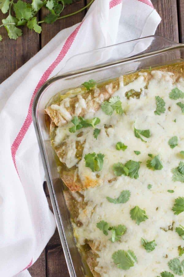 Garlic, Bean and Chicken Enchiladas with Green Sauce