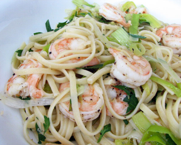 Linguine with Shrimp and Leeks