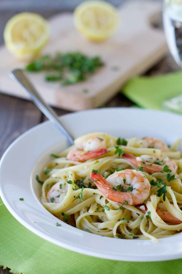 Bowl of Lemon Pepper Shrimp Linguine