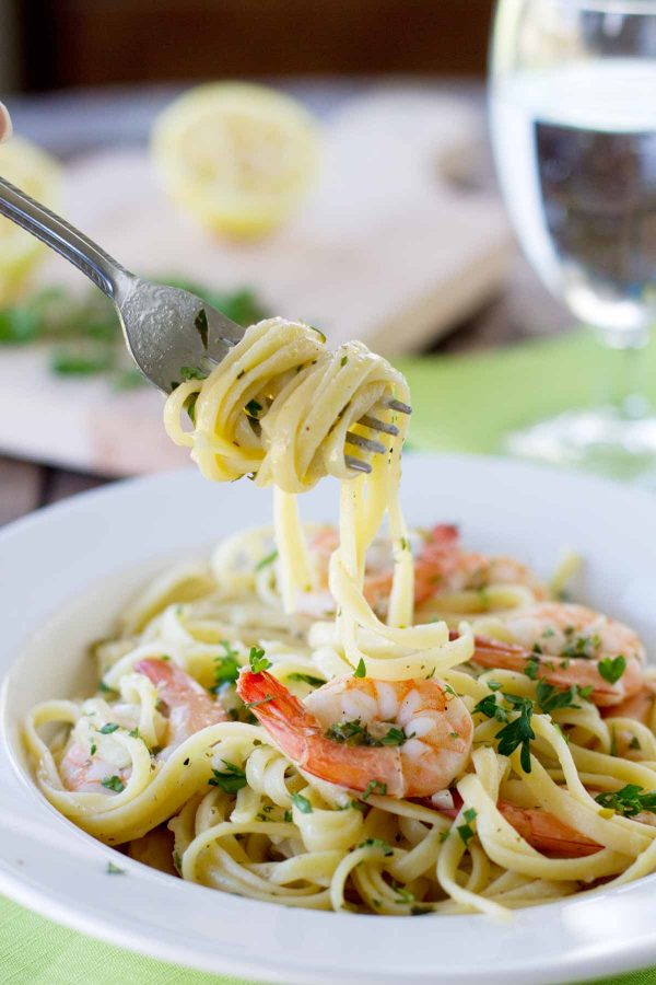 pasta dish with lemon pepper shrimp
