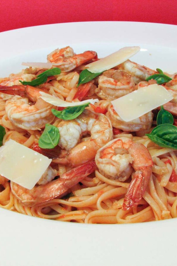 Linguine with Honeyed Tomato Sauce and Shrimp