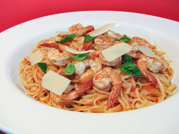 Linguine with Honeyed Tomato Sauce and Shrimp