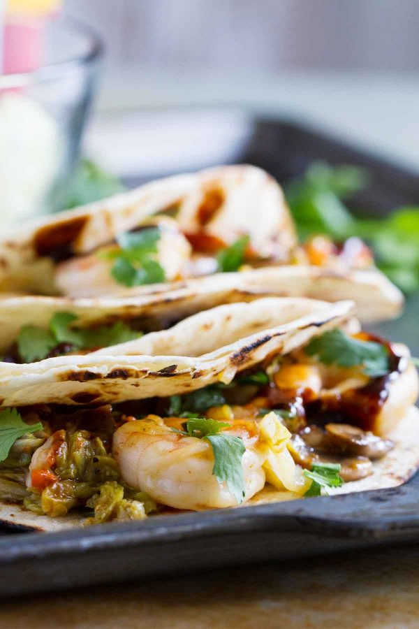 moo shu shrimp in tortillas