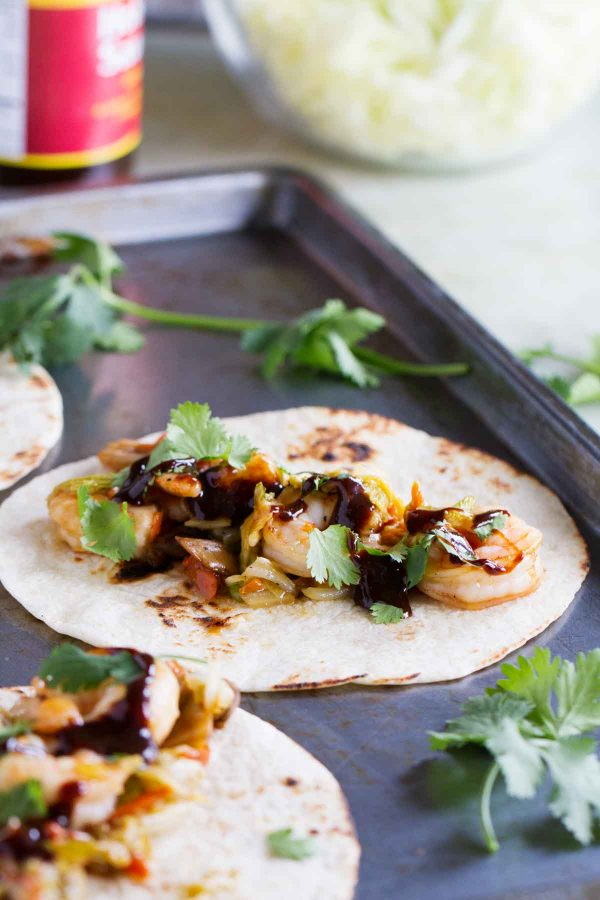 hoisin sauce on moo shu tacos