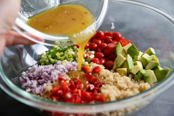 Ingredients in a quinoa salad