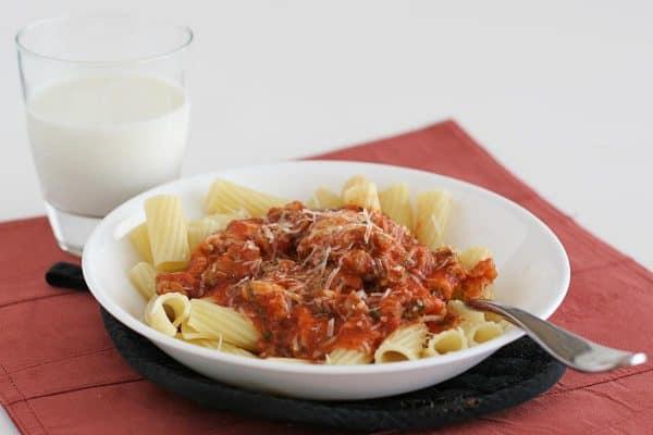 Rigatoni with Cheesy Tomato Sausage Sauce