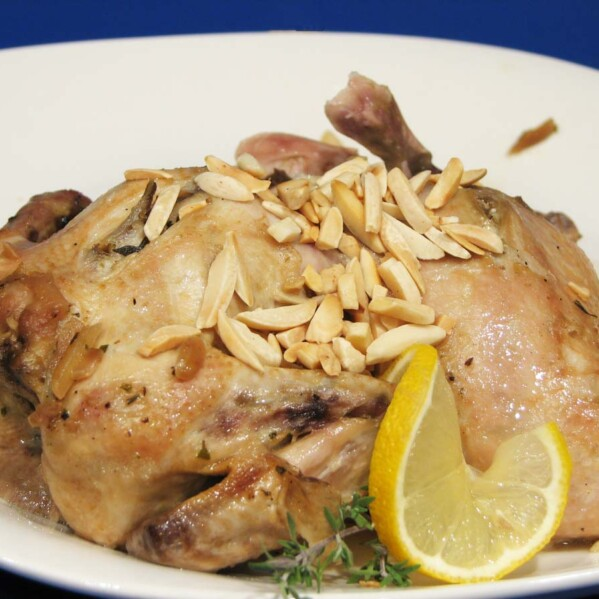 Roasted Lemon Almond Cornish Hens