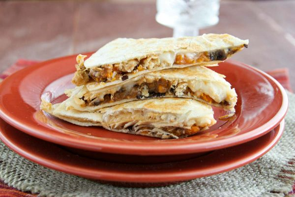Sweet Potato Chicken Quesadillas Stacked on a Plate