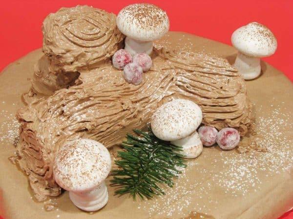 Yule Log Cake with Meringue Mushrooms