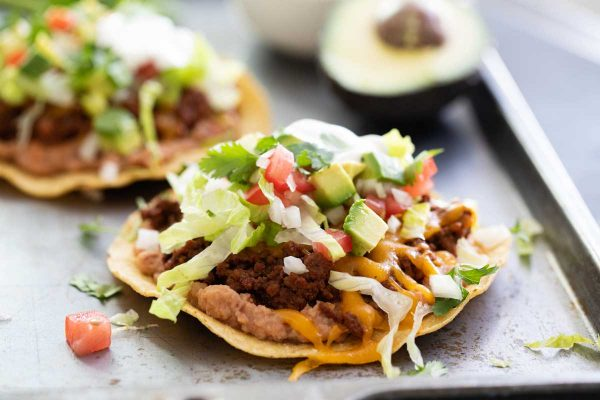 Beef Tostada Recipe with Beans