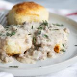 Sausage Gravy on Homemade Biscuits